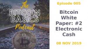 Bitcoin Basics Podcast cover album artwork: Bitcoin White Paper: Part 2 Electronic Cash width=
